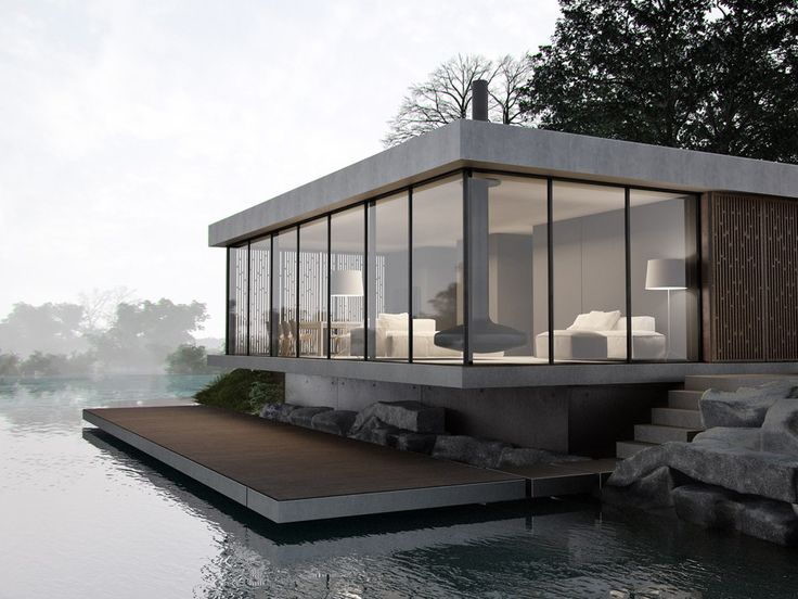 modern house on lake
