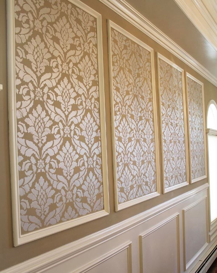 Large Vintage Design - European Wallpaper look DIY Wall Painting in Dining Room Makeover - Classic Damask Wall Stencil by Royal Design Studio - pic by @brushstrokess