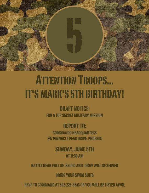 Army Theme Birthday Invitation  Camouflage  Set by TickleToesCards, $35.00