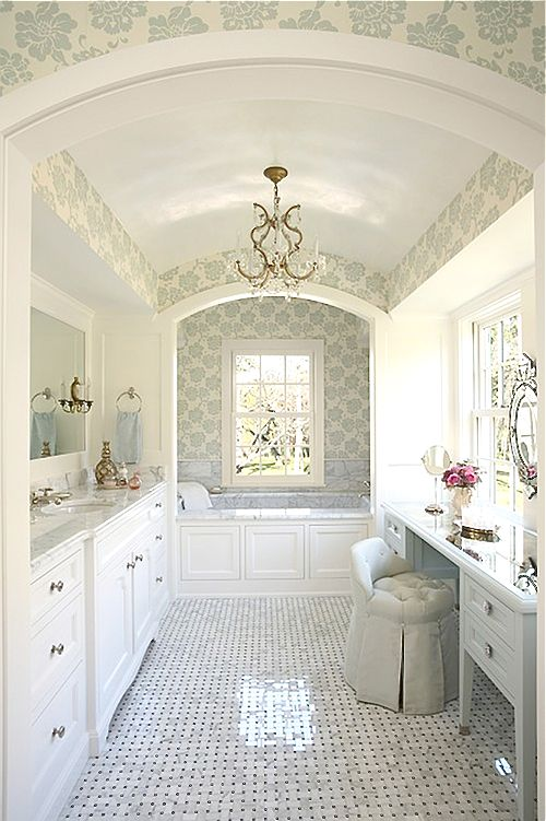 I love this bathroom--I'd probably stay long in the bathtub since it's so pretty!