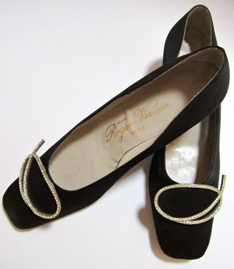 Roger Vivier designer black silk shoes with rhinestone buckle
