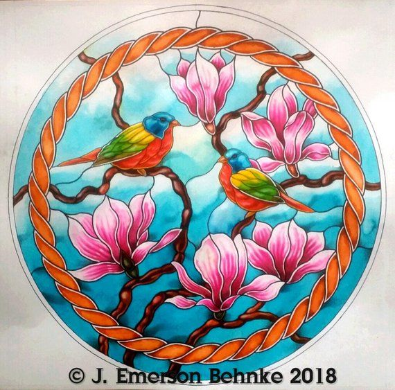 Painted Bunnings With Magnolia Blossoms Stained Glass Diy Custom Stained Glass Magnolia Blossom