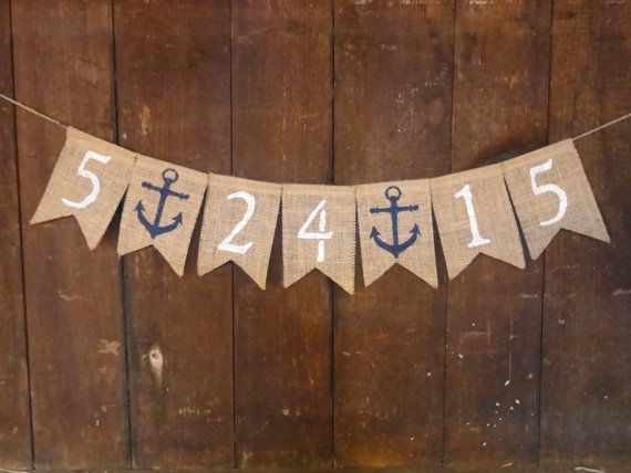 Save the Date Burlap Banner Nautical Bridal by IchabodsImagination