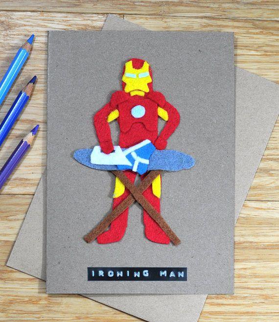 Iron Man birthday / greeting / father's day card | Ironing Man! | Marvel | Robert Downey Jr. | Funny Pun | Handmade design