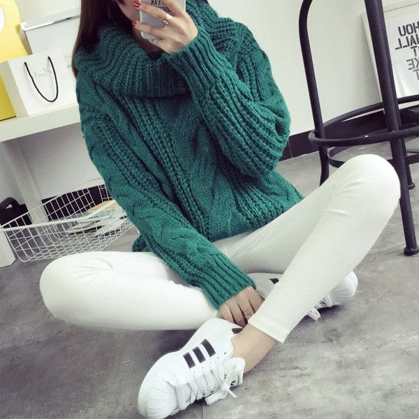 New 2016 Autumn Winter Turtleneck Sweater Pullover Women Loose Warm knitting sweaters and Pullovers knitwear Pull Femme MY25