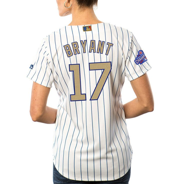Kris Bryant Chicago Cubs Women's 2017 Gold Program Jersey  #ChicagoCubs #Cubs #FlyTheW #MLB #ThatsCub