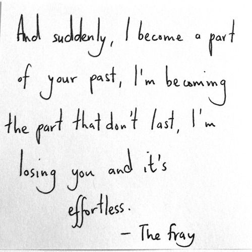 The Fray lyrics that kind of describes what is going through my head lately. :p