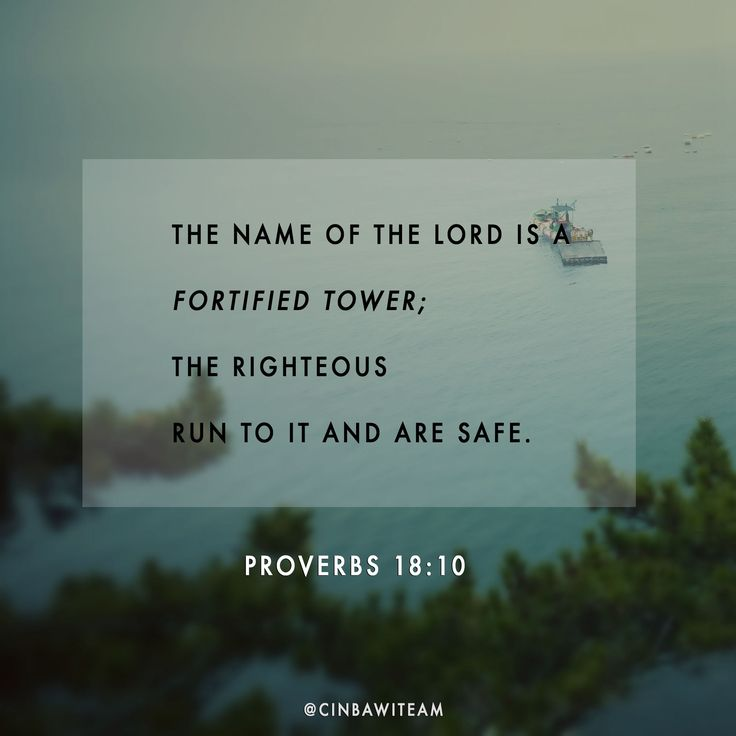 Proverbs 18:10  The name of the Lord is a fortified tower;     the righteous run to it and are safe