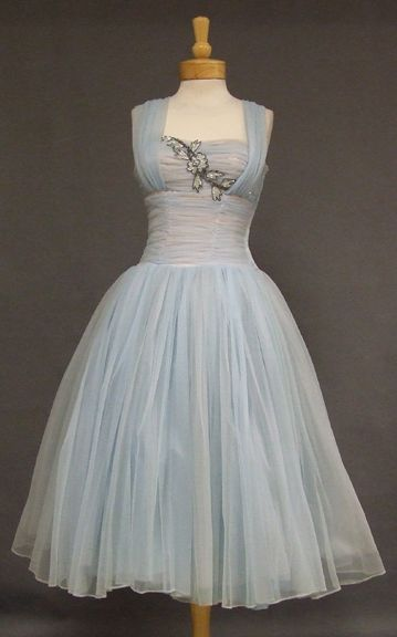~Fred Perlberg fairytale pale blue chiffon cocktail dress with  satin applique1950s~