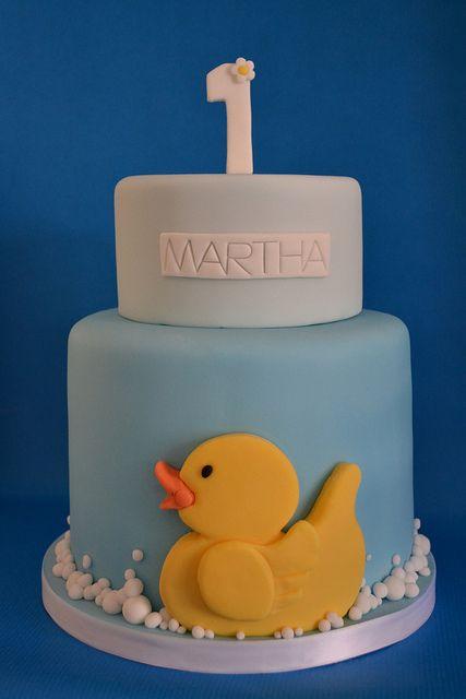 Yellow duck 1st birthday cake by madebymariegreen, via Flickr