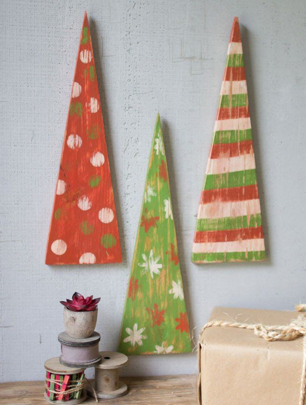 Painted Christmas Tree Wall Hanging, Set of 3 Christmas Pinterest