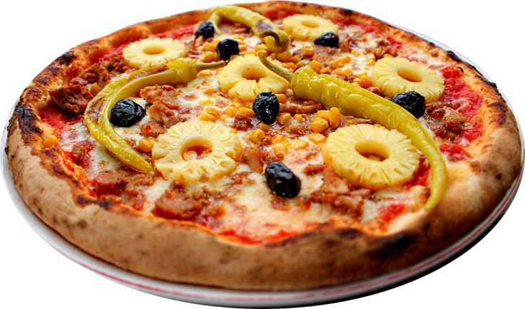 Pizza - Le Florentin Nevers  HAWAIENNE ⁄ tomate, fromage, poulet, maïs, piment doux, olives, ananas ⁄