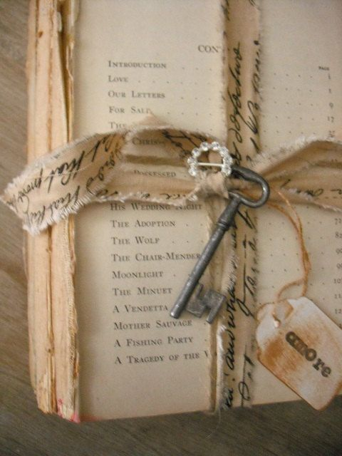 vintage french cottage Rustic Book Stack by MamaLisasCottage