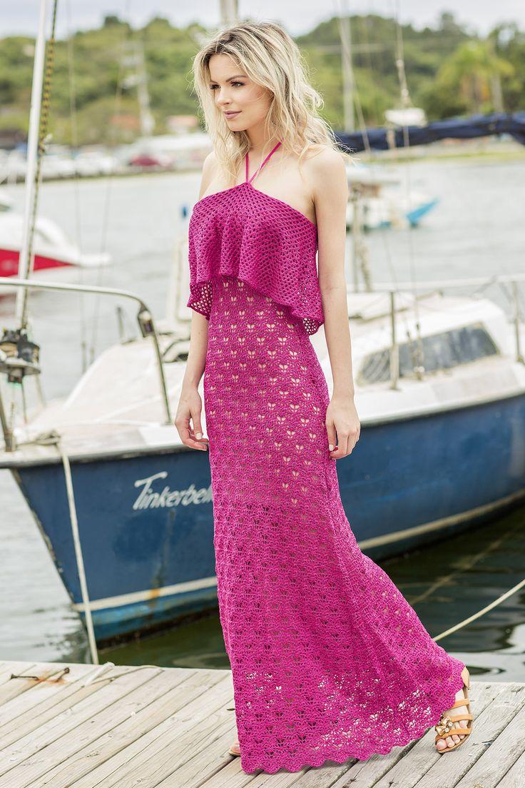 Vestido Decote Amarrar Conchita Pink | Galeria Tricot - Galeria Tricot