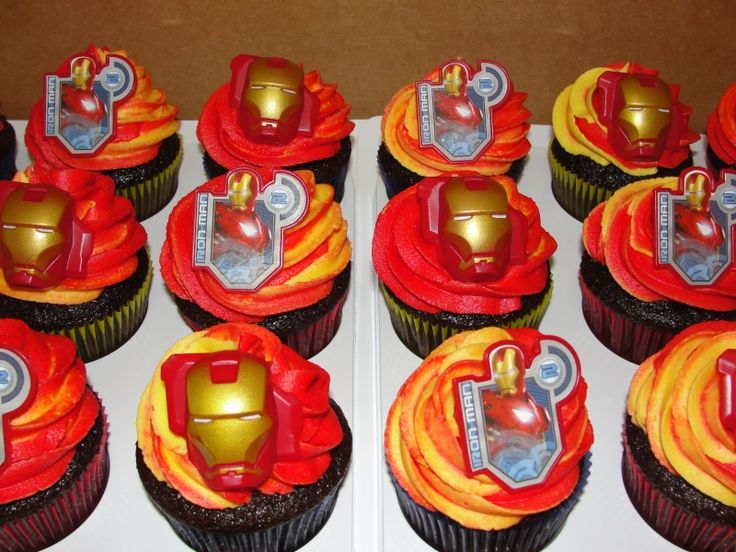 iron man cupcakes           Visit www.fireblossomcandle.com for more party ideas!