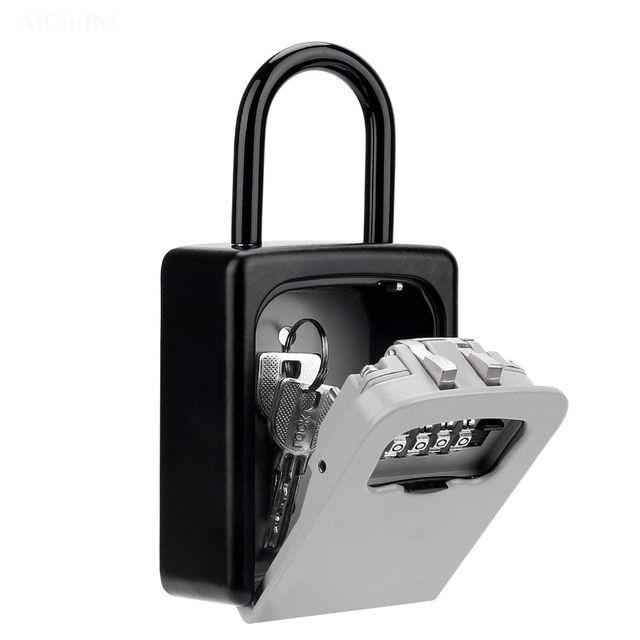 Wall Mounted Key Storage Organizer Boxes With 4 Digit Combination Lock Spare Keys Organizer Boxes Metal Secret Safe Box Car Safe Box Key Storage Key Organizer