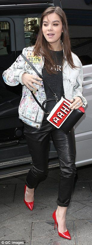 Busy day: Earlier on Thursday Hailee added some glam touches for a visit to Capital Radio ...