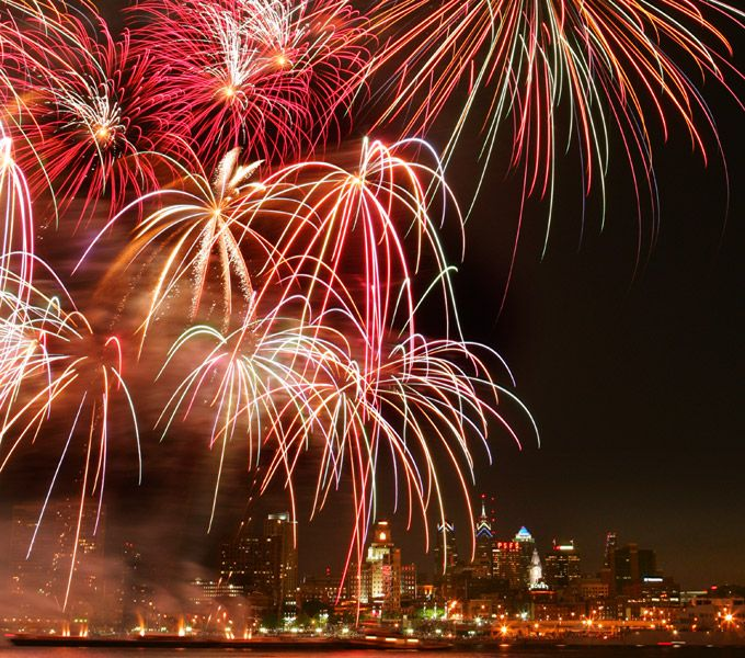 On Saturday, July 5 another fireworks extravaganza explodes over the Delaware River in Philadelphia (Photo by R. Kennedy for Visit Philadelphia)