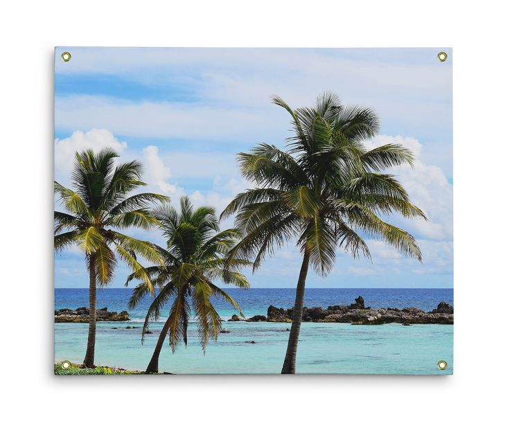 A beach tropical backdrop for your surf style home settings, this wall tapestry accent hanging features lush coconut palm tree landscape with with blue green ocean waters throughout! Available in three different sizes to choose from, this decorative beach chic tapestry hanging comes with grommets fastened on all four corners for ease of hanging! *Available in 26x36, 50x59 and 59x80 inches *Grommets included on all four corners for ease of hanging