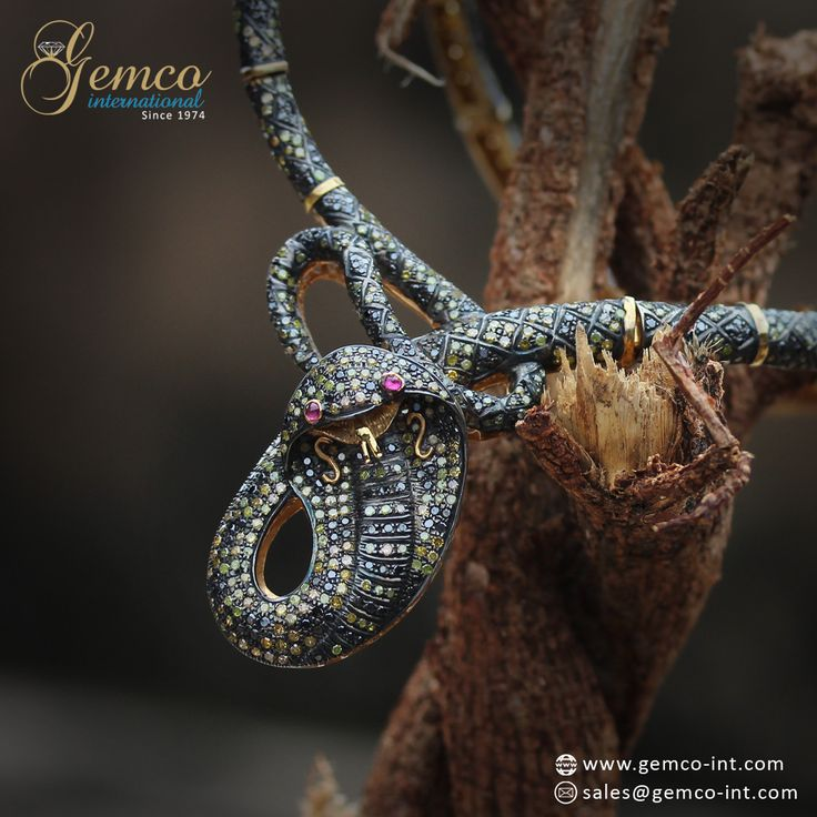 #Serpent Necklace    #Beautiful Ruby Eyes, Pave Set #Yellow & Black #Diamonds Serpent #Necklace