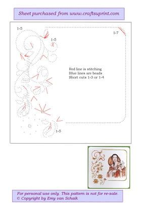 ED046 Vintage border on Craftsuprint designed by Emy van Schaik - Stitching with beads - Now available for download!