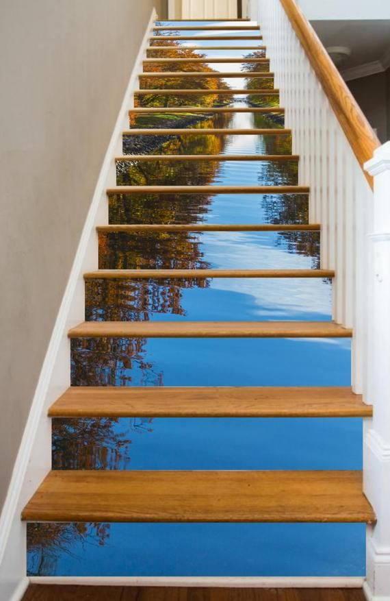 Waterways In The Shades Of Autumn Riserart Presents Maple Channel Glide Through The Mirrored Waters To A Tranquil Place In You In 2020 Stairways Stair Risers Stairs