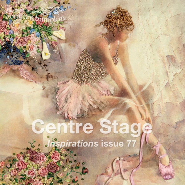 """I love the hair and tutu of this embroidered picture. """"Centre Stage"""" is featured inside Inspirations i77 and available as an embroidery kit. The ballerina print is also available."""