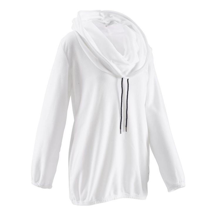 Kadın Soğuk Hava Yoga-Pilates Kıyafetleri - Kadın Yoga/Pilates Polar Sweatshirt - Beyaz DOMYOS