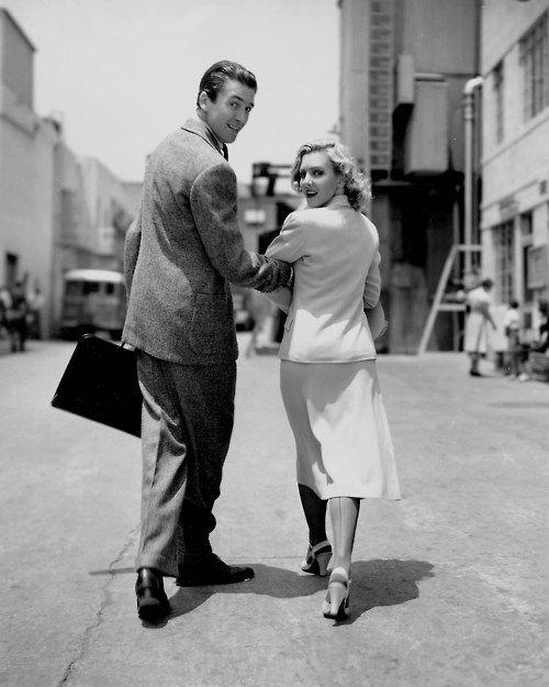 James Stewart & Jean Arthur walking on the set of Mr. Smith Goes to Washington (Frank Capra, 1939)