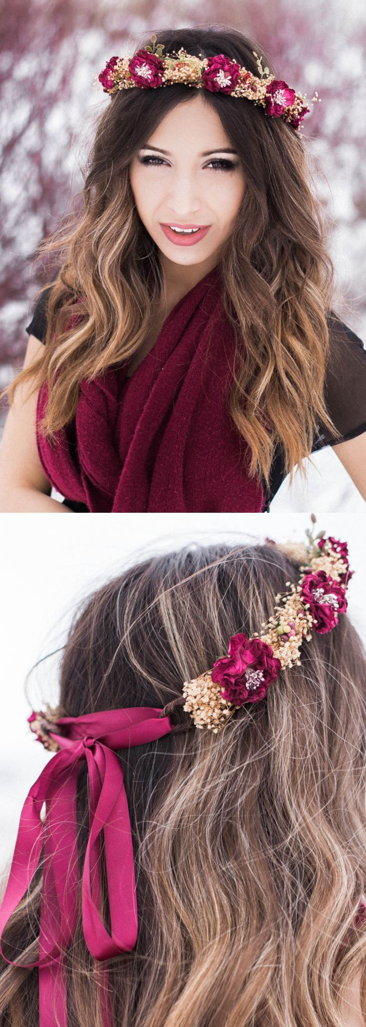 Winter wedding floral crown. The beige gold and deep wine hues of this halo are rich and beautiful. This crown features preserved baby's breath (gypsum stardust) that dances around a rustic, dark brown bark-covered vine crown. Great for bridesmaids. Winter wonderland wedding ideas. Christmas wedding outfits. Winter weddimng inspiration. #christmaswedding #winterwedding #bridesmaids #flowrgirls #winterparty #antlers #christmasparty #affiliatelink #party #fashion #ootd