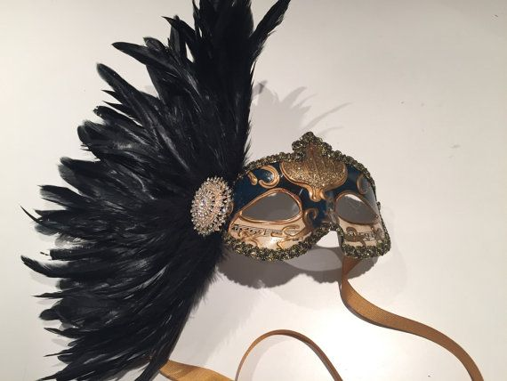Mask NYC- black and gold feather Mask - Venician mask- masquarade Mask- Costume party mask- New Years Eve party-Masquerade Ball- Mardi Gras-