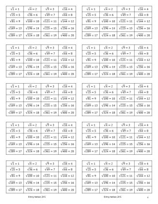 FREE Square Roots of Perfect Squares Reference Card - from the square root of 1 to the square root of 400.