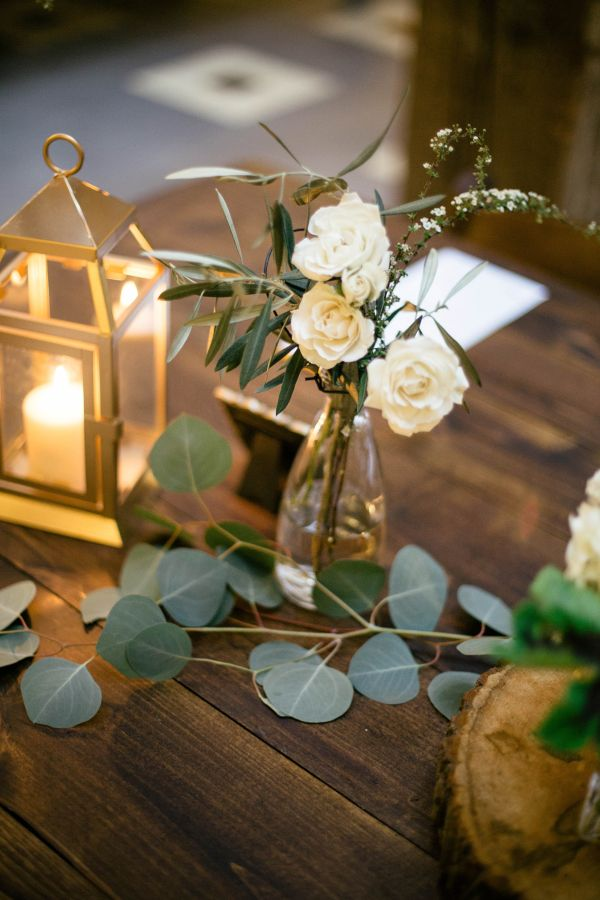 Gold green and ivory reception table decor centerpieces