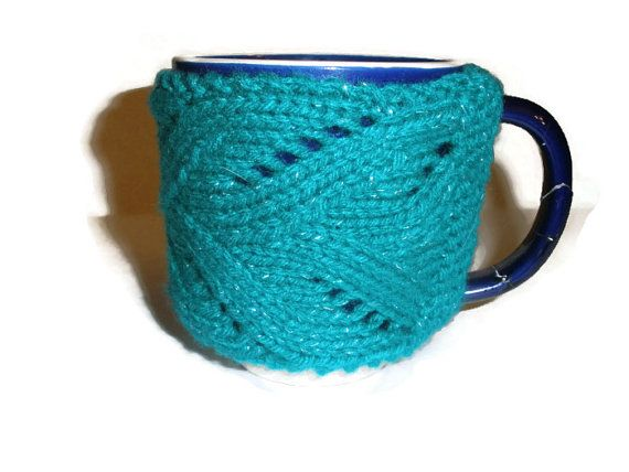 Teal Mug Cozy by StitchinCreations on Etsy