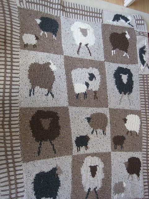 Adorable sheep blanket, designed by Gitta Schrade. Rare pattern, but it can be found if you scour the internet.