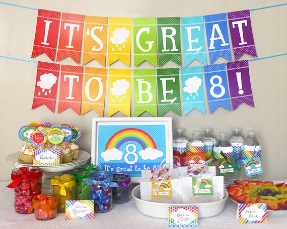Great to be 8 Rainbow Party Printable Set: LDS Baptism Party Kit Downloads - Decorations, Banner, Welcome Sign, Cupcake Toppers, Favor Tags