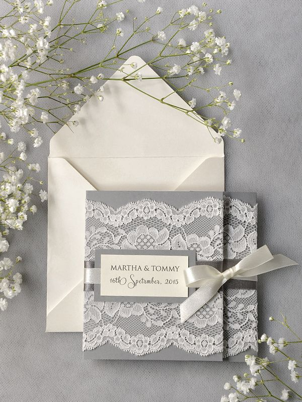 WEDDING INVITATIONS lace #4lovepolkadots #weddinginvitations #rusticwedding #lace #rusticinvitations #grey #greyandwhite