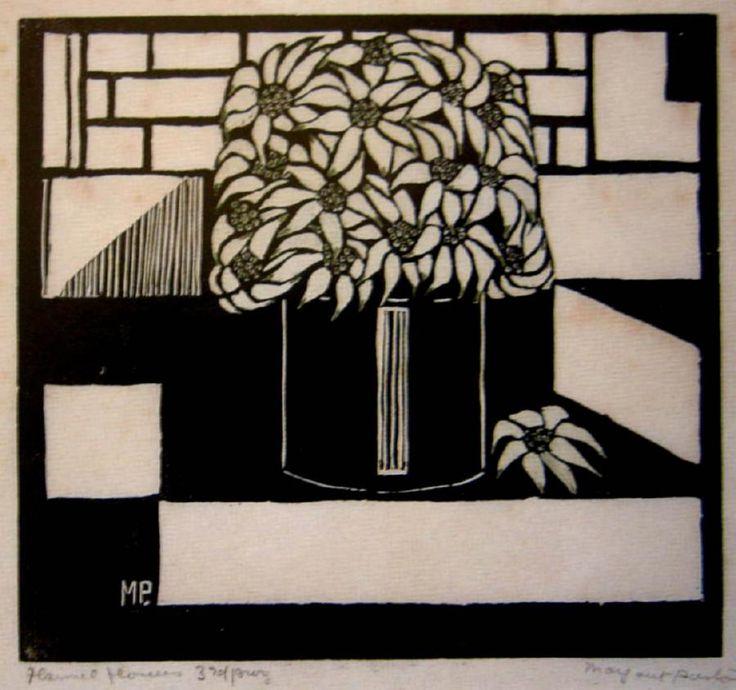 Margaret Preston   Woodblock  'Flannel Flowers'