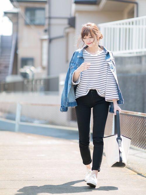 しまむら ボーダーフレアスリーブT ¥900税込 size:M ユニクロ メンズ デニムジャケット