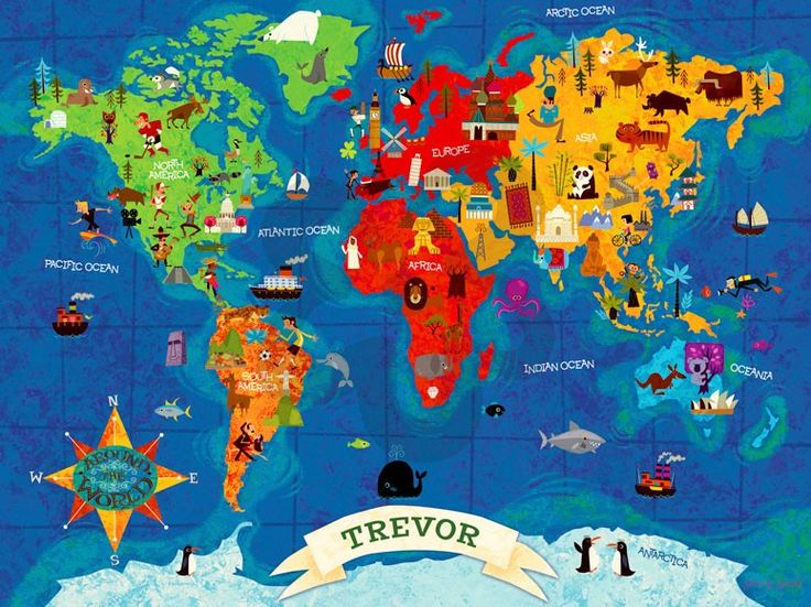 49 best world map images on pinterest kidsroom photo mural and big wide world personalized canvas wall art oopsy daisy sciox Gallery