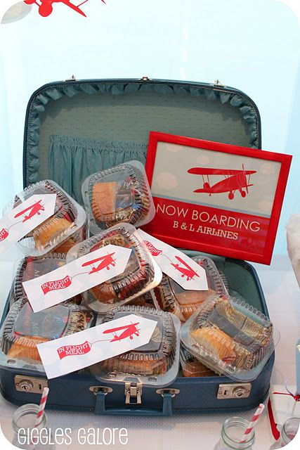Really cute airplane party! Love these in-flight meals and vintage suitcase!