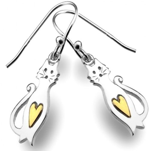 Sterling Silver Jewellery UK: Sterling Silver and Gold Cute Cats Earrings with Heart