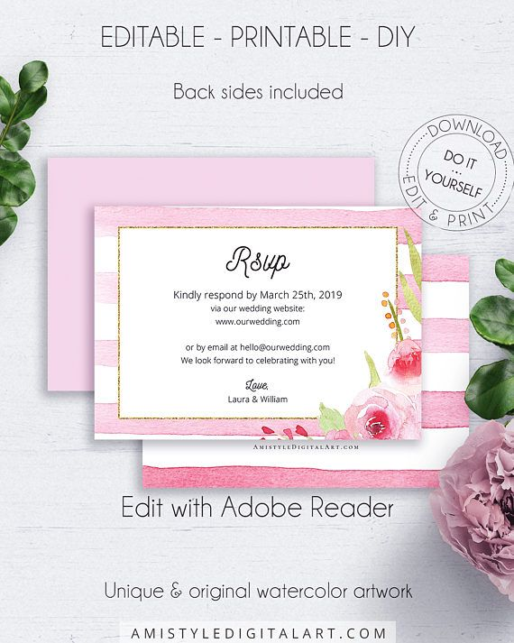 Blush Editable Response Card, with colorful and bright watercolor floral design on a striped background in vintage and shabby chic wedding style.This lovely wedding response card template is an instant download EDITABLE PDF pack so you can download it right away, DIY edit and print it at home or at your local copy shop by Amsityle Digital Art on Etsy