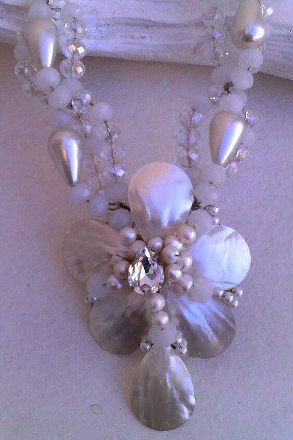 UNIQUE handmade necklace''MYKONOS WHITE'' by boutiqueofsandals
