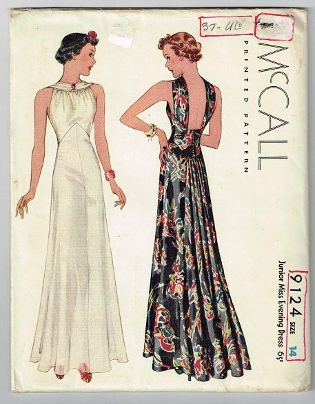 McCall 9124 Evening Dress 30s Unused FF Complete SzB32 nsld 199.99+4 0bds 7/17/15