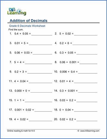 grade 6 decimals worksheet addition of decimals module 1. Black Bedroom Furniture Sets. Home Design Ideas