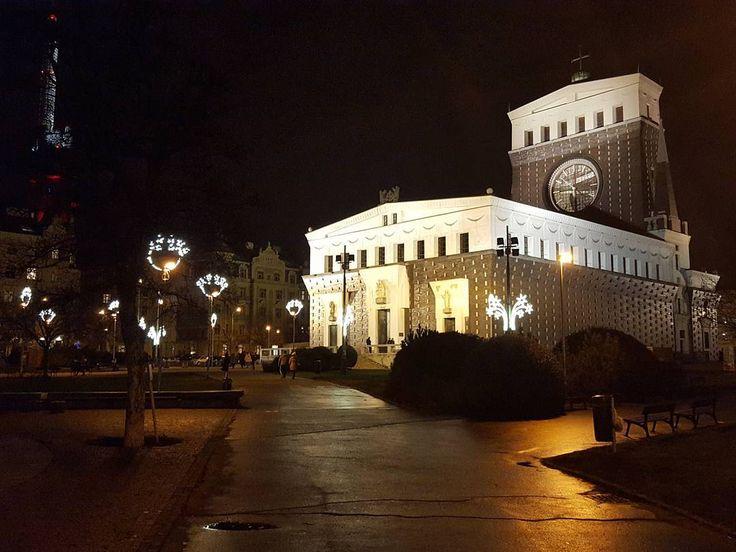 A Night in the City The Church of the Most Sacred Heart of Our Lord at Jiřího z Poděbrad Square Prague  #prague #travel #night #NightInTheCity #city #church #architecture #jozeplecnik #jirihozpodebrad #square #street #streetphotography #galaxys6
