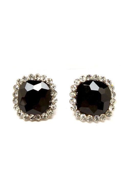 black stone earings with a diamond stud ed rim!! | style.I ...