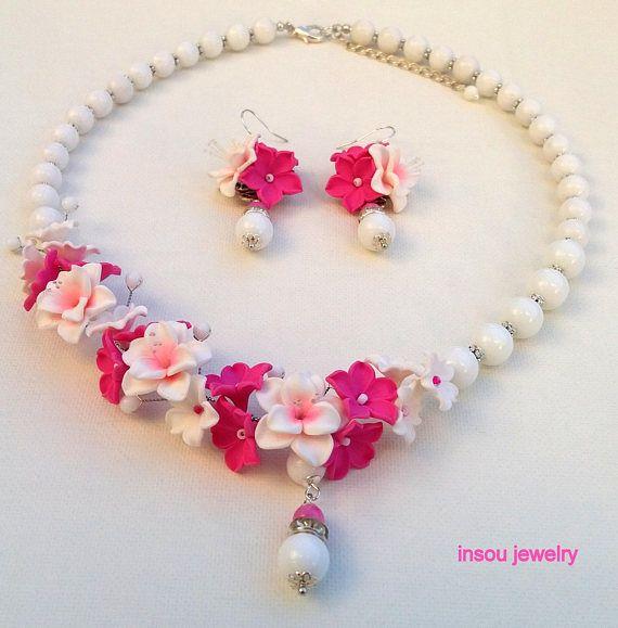 Statement Flower Necklace Magenta Jewelry White Jewelry