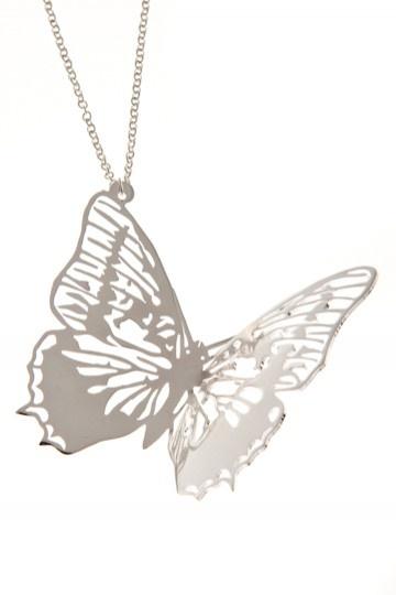 PiiSua Silver - halsband med fjäril
